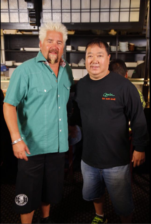 Guy Fieri of Food Network visits Osaka Japanese Bistro's Gene Nakanishi