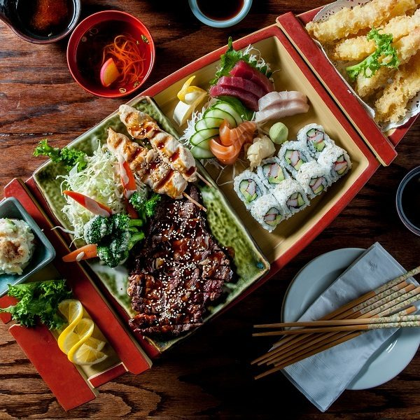 Osaka Japanese restaurant bento box lunch chicken beef sushi sashimi tempura rice and salad