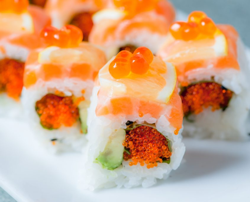 Fresh sushi with fish roe close up by Osaka Japanese Restaurant sushi catering division