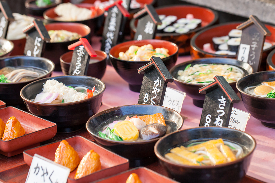 Traditional and popular Japanese foods for sale in food market in Tokyo, Japan.