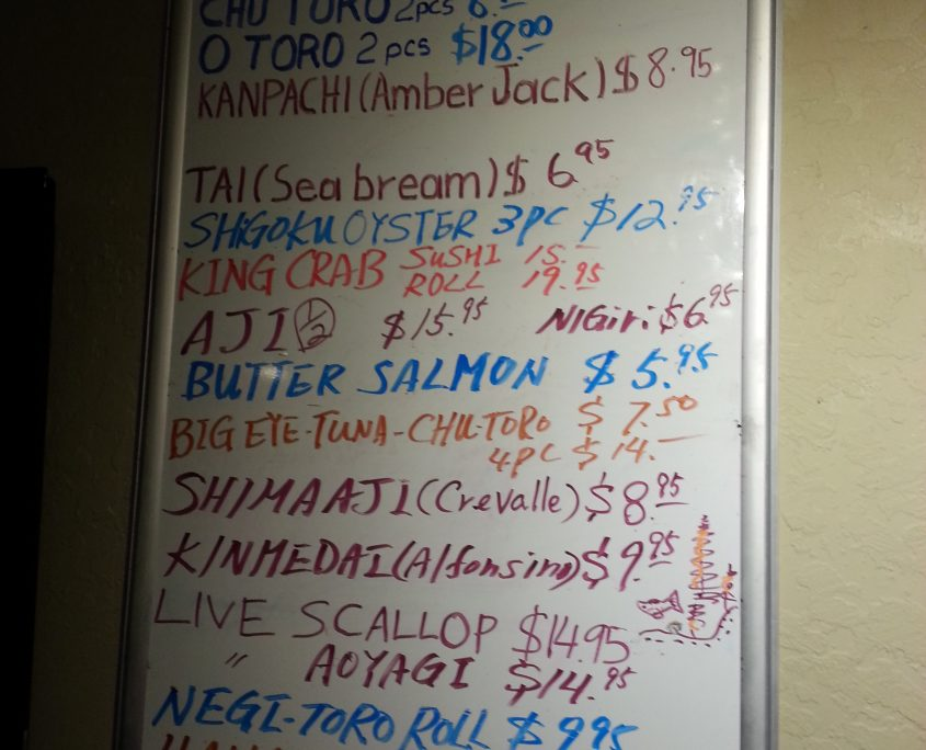 Osaka daily sushi menu board sushi specials