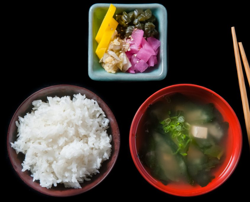 Miso soup rice and pickled vegetables breakfast dishes
