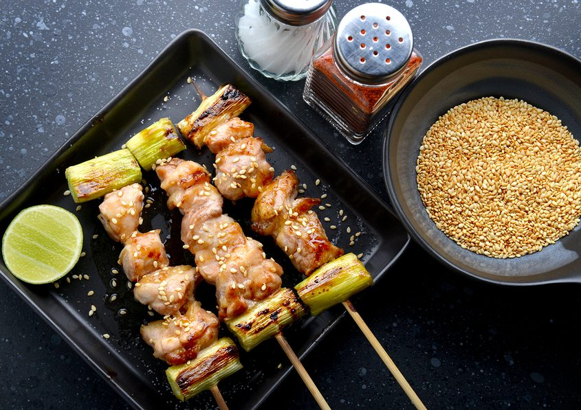 japanese chicken grill Yakitori set with leeks